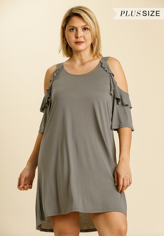 Cold Shoulder Short Dress in Ash - Plus