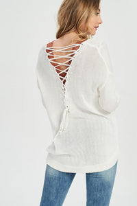 Lace-Up Back Sweater in Ivory - My Sister's Porch