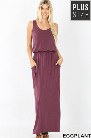 Sleeveless Straight Hem Dress with Pockets in Eggplant - My Sister's Porch