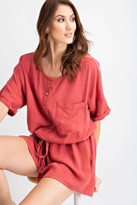 Crimson Henley Button Front Romper - My Sister's Porch