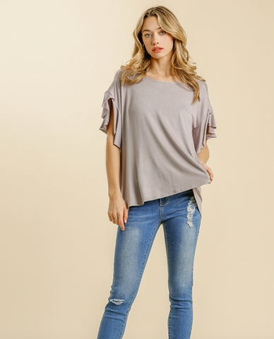 Wide Neck Top with Ruffled Sleeves in Cool Grey