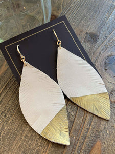 Sonja Leather Leaf Earrings - My Sister's Porch