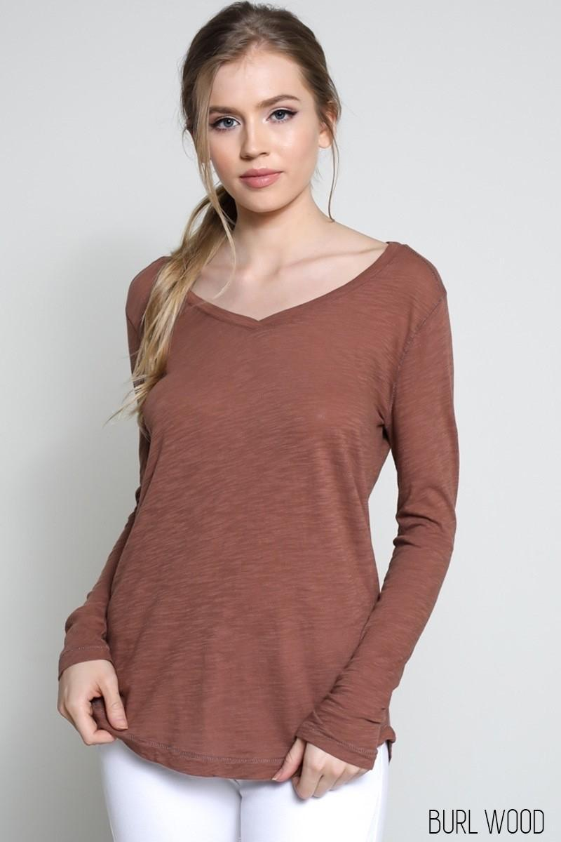 Cotton Long Sleeve V-Neck in Burl Wood