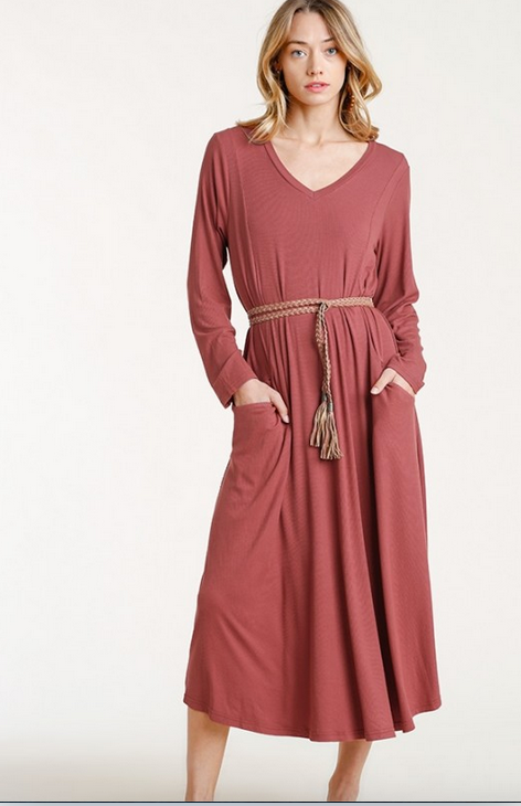 Ribbed V-Neck Long Sleeve Dress in Red Clay