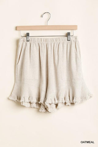 Ruffle Soft Linen Shorts in Oatmeal - My Sister's Porch