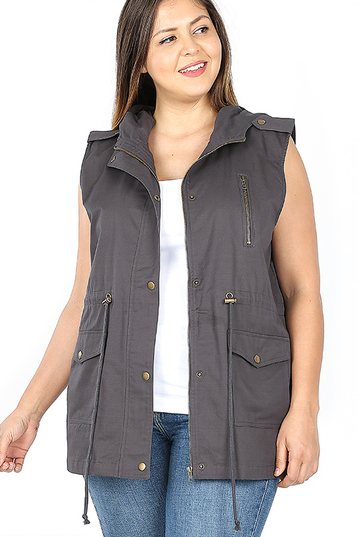 Plus Cargo Vest in Charcoal - My Sister's Porch