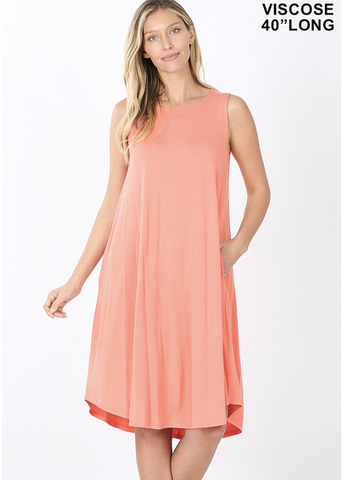 Sleeveless Knee Length Dress in Deep Coral