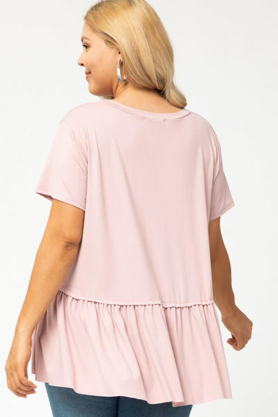 Round Neck Short Sleeve Top in Light Mauve - My Sister's Porch