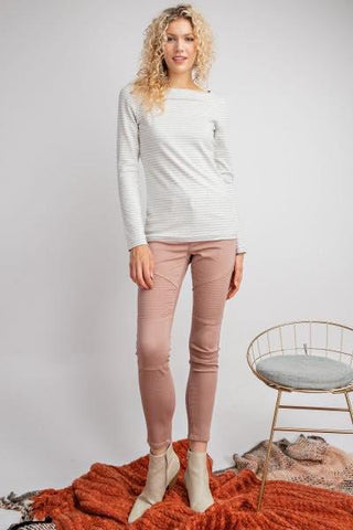 Dusty Mauve Moto Skinny Denim Jeans - My Sister's Porch