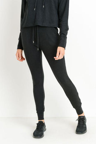 Highwaist Slub-Knit Slim-Fit Cuffed Joggers  in Black - My Sister's Porch