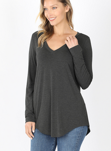 Luxe Rayon Top in Charcoal