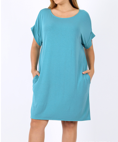 Dusty Teal Soft Dress Curvy - My Sister's Porch