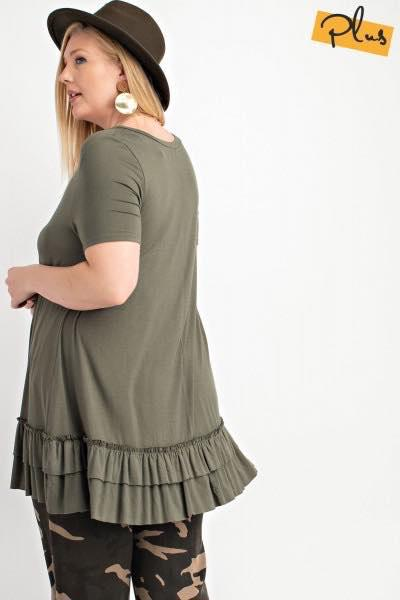 Short Sleeve Ruffle Tunic in Jungle Green - My Sister's Porch