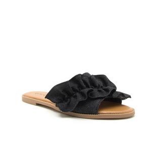 Demi Slide Sandal in Black Denim - My Sister's Porch