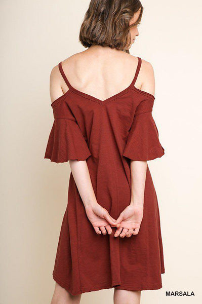 Southern Sass Ruffled Sleeves Dress in Marsala - My Sister's Porch
