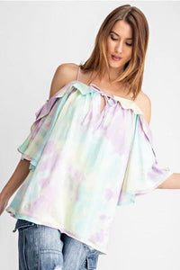 Off Shoulder Ruffle Tie Dye Top - My Sister's Porch