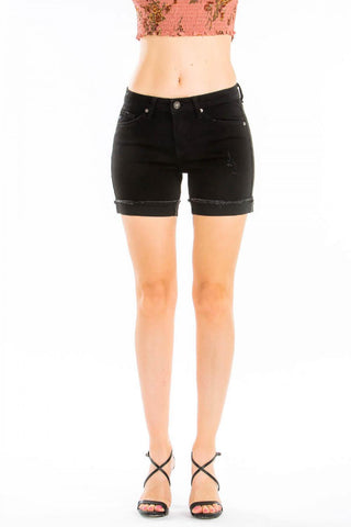 KanCan Mid Rise Shorts in Black - My Sister's Porch