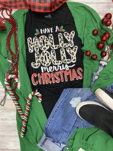 V-Neck Leopard Holly Jolly Merry Christmas Graphic Tee