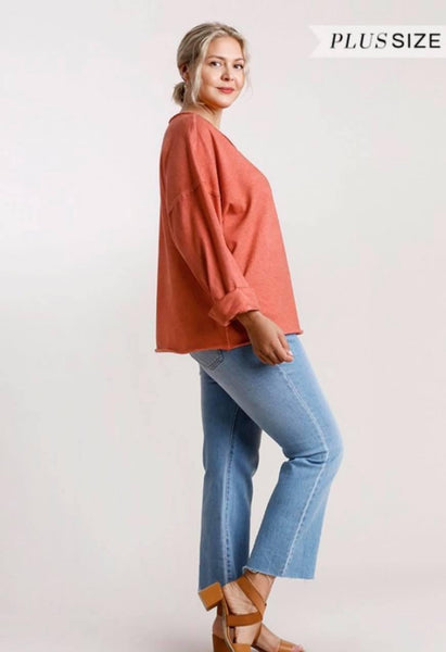 Mineral Wash French Terry Top in Sunset