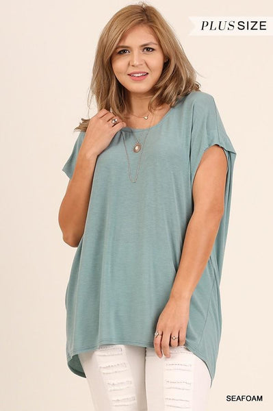 Dolman Sleeve Scoop Neck Top in Seafoam - My Sister's Porch