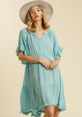 Split Neck Tiered Dress in Mint Blue