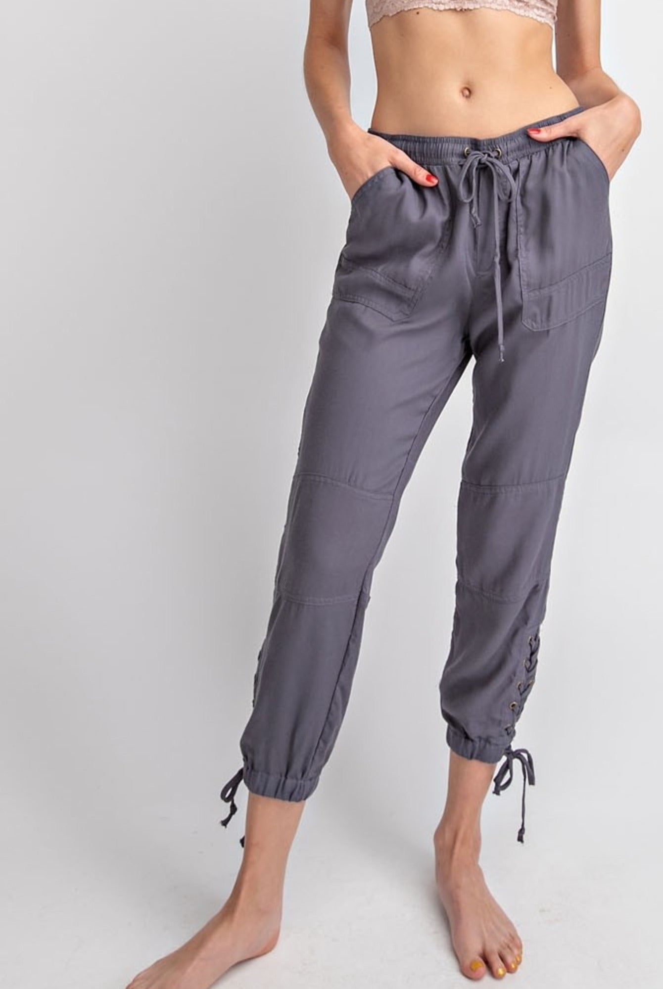 Slate Comfy Lace-Up Side Twill Jogger - My Sister's Porch