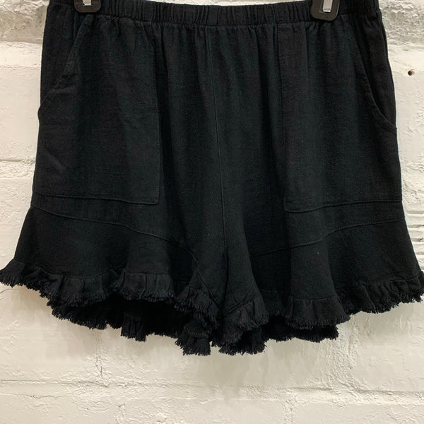 Ruffle Soft Linen Shorts in Black - My Sister's Porch