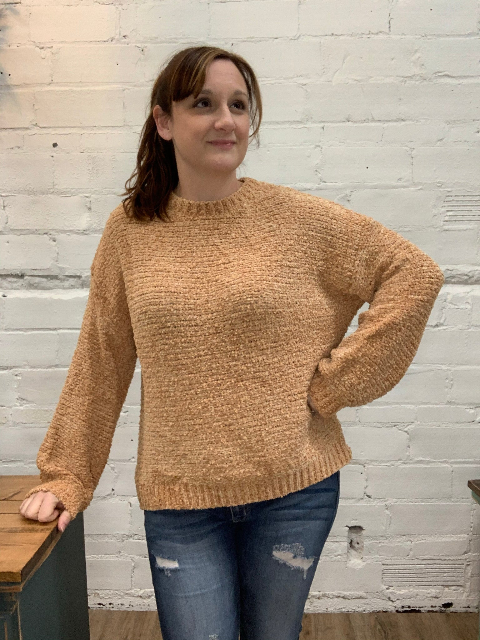 Textured Knit Chenile Pullover Sweater in Butterscotch
