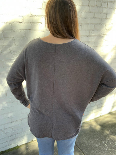 Ribbed Long Doman Top in Charcoal