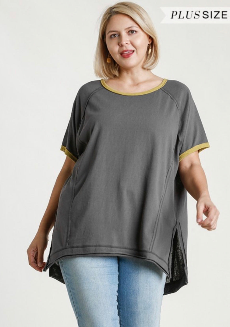 Contrast Color Everyday Tee in Ash