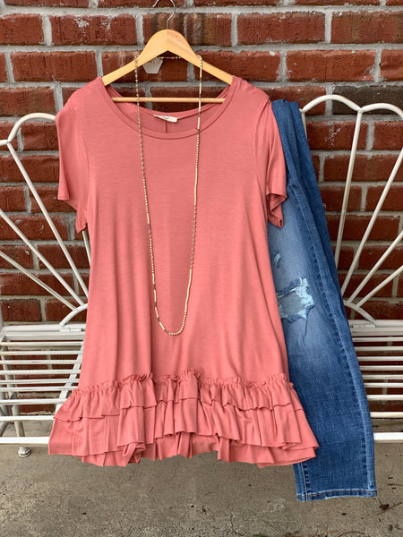 Short Sleeve Ruffle Tunic in Light Brick - My Sister's Porch
