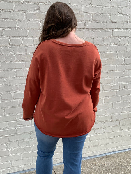 Mineral Wash French Terry Button Top in Sunset