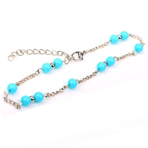 Tibetan Silver Turquoise Drop Anklet