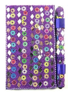 Handcrafted Mirror Notebook And Matching Pen Set- Purple