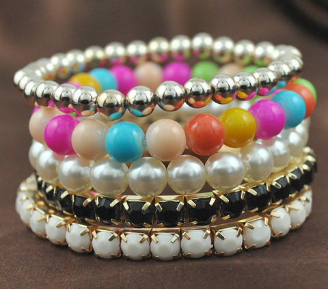 Candy Color Pearl Stone Multilayer Charm Bracelets