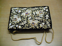 Vintage Black and Gold Clutch Purse
