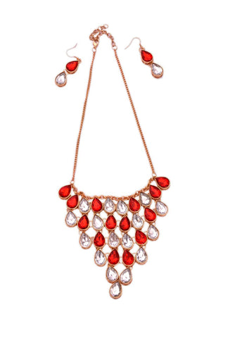 Chandelier Necklace with Matching Earrings- Red