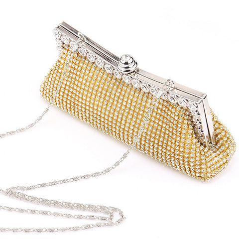 Gold Shining Diamond Evening Clutch