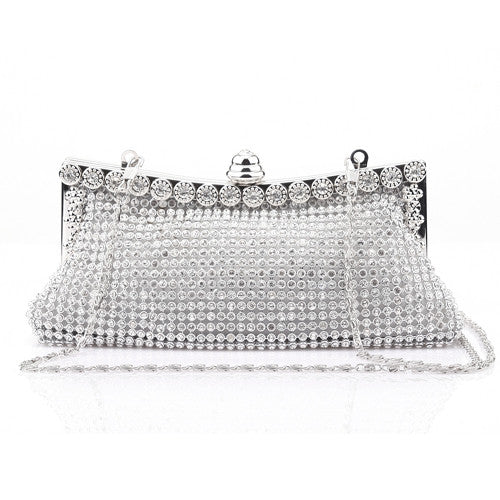 Shining Diamond Embellished Evening Clutch Bag Silver