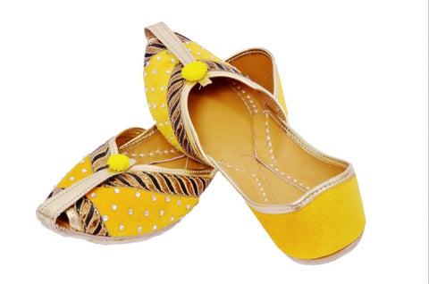 Vintage Embroidered Ethinc Flats- Yellow
