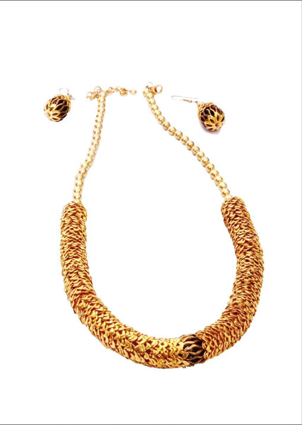 Gold Ethnic Necklace with Matching Earrings