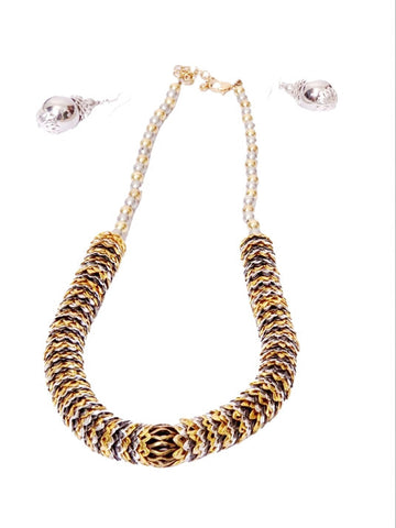Black and Gold Ethnic Necklace with Matching Earrings