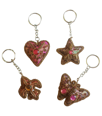 Premium Handcrafted Holiday Keychains Set of (4) Four