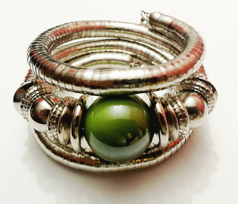 Silver Color Plated Tribal Bracelet with Green Bead