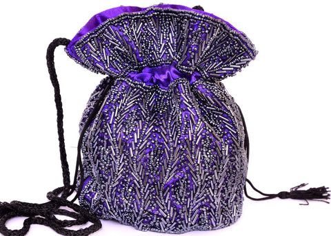 Purple Beaded Potli Purse