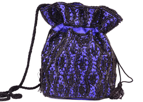 Blue Beaded Potli Purse