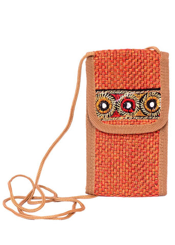 Bamboo Jute Cellphone Carry Pouch/Purse- 5 Colors Available