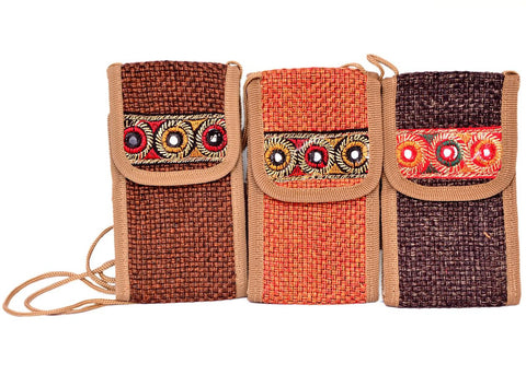 Bamboo Jute Cellphone Carry Pouch/Purse