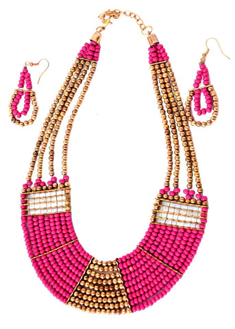 Ethnic Beaded Necklace with Earrings- Pink