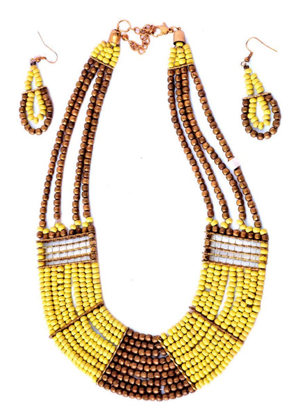 Ethnic Beaded Necklace with Earrings- Yellow